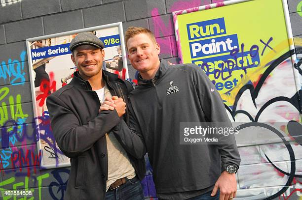 Actor Kellan Lutz and Arizona Cardinals punter Drew Butler participate in the 'Oxygen 2015 Super Bowl XLIX Activation' in support of their upcoming...