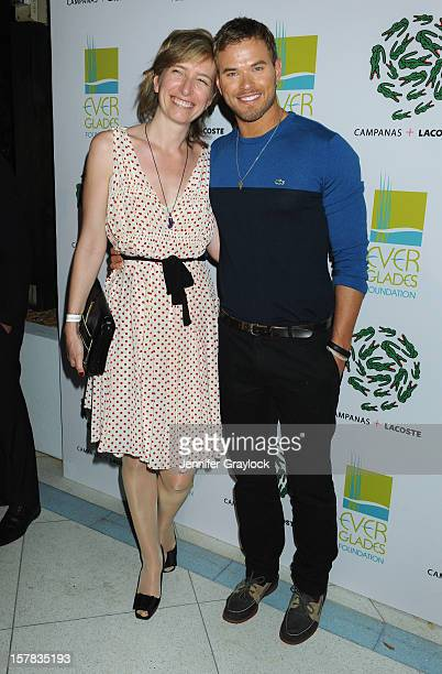 Actor Kellan Lutz and Chairman of the Board LACOSTE SA Sophie Lacoste Dournel attend LACOSTE Celebration of Limited Edition Campanas Tee During Art...