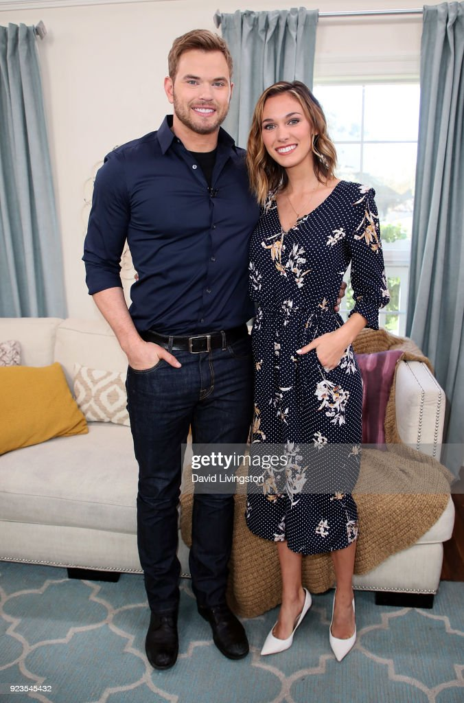 Actor Kellan Lutz (L) and wife TV host Brittany Gonzales visit Hallmark's 'Home & Family' at Universal Studios Hollywood on February 23, 2018 in Universal City, California.