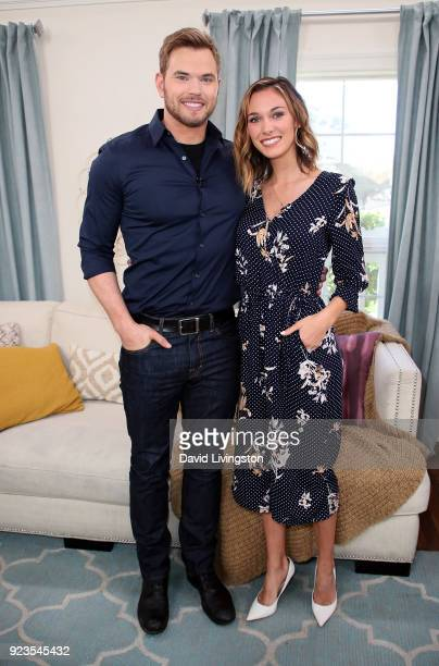Actor Kellan Lutz and wife TV host Brittany Gonzales visit Hallmark's 'Home Family' at Universal Studios Hollywood on February 23 2018 in Universal...
