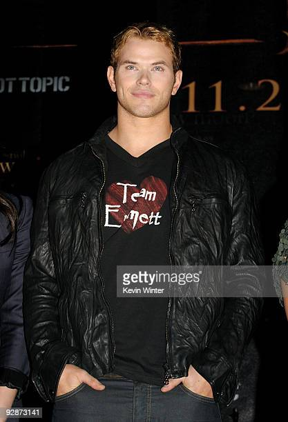 Actor Kellan Lutz appears onstage at Summit's The Twilight Saga New Moon Cast Tour at Hollywood and Highland on November 6 2009 in Los Angeles...