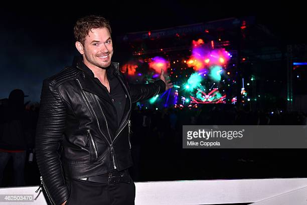 Actor Kellan Lutz attends Day 2 of the DirecTV Super Fan Festival at Pendergast Family Farm on January 29 2015 in Glendale Arizona