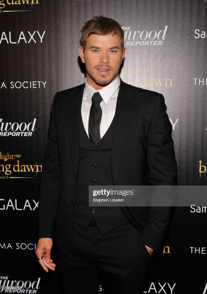 Actor Kellan Lutz attends The Cinema Society with The Hollywood Reporter & Samsung Galaxy screening of 'The Twilight Saga: Breaking Dawn Part 2' on November 15, 2012 in New York City.