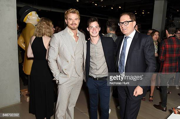 Actor Kellan Lutz Hayden Carey and President of Hearst Magazines David Carey attend the Esquire/CFDA NYFWMen's event at Spring Place on July 12 2016...