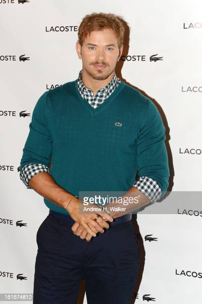 Actor Kellan Lutz poses backstage at the Lacoste Spring 2013 fashion show during MercedesBenz Fashion Week at The Theatre Lincoln Center on September...