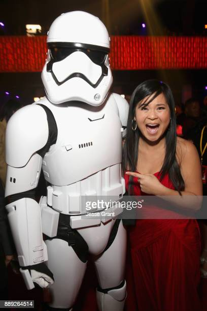Actor Kelly Marie Tran and a stormtrooper at the world premiere of Lucasfilm's Star Wars The Last Jedi at The Shrine Auditorium on December 9 2017 in...
