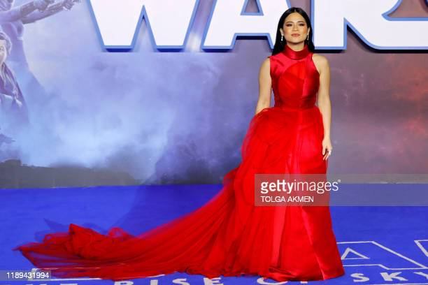 US actor Kelly Marie Tran poses on the red carpet upon arrival for the European film premiere of Star Wars The Rise of Skywalker in London on...