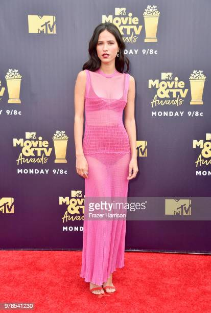 Actor Kelsey Asbille attends the 2018 MTV Movie And TV Awards at Barker Hangar on June 16 2018 in Santa Monica California