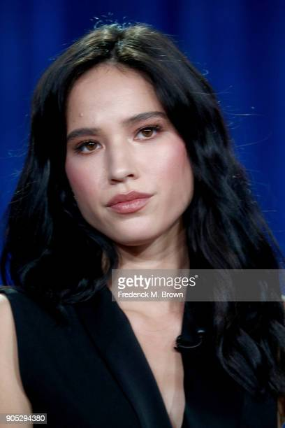 Actor Kelsey Asbille of 'Yellowstone' speaks onstage during the Paramount Network portion of the 2018 Winter Television Critics Association Press...