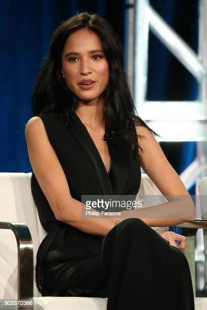 Actor Kelsey Asbille of 'Yellowstone' speaks onstage during the Paramount Network portion of the 2018 Winter TCA on January 15 2018 in Pasadena...