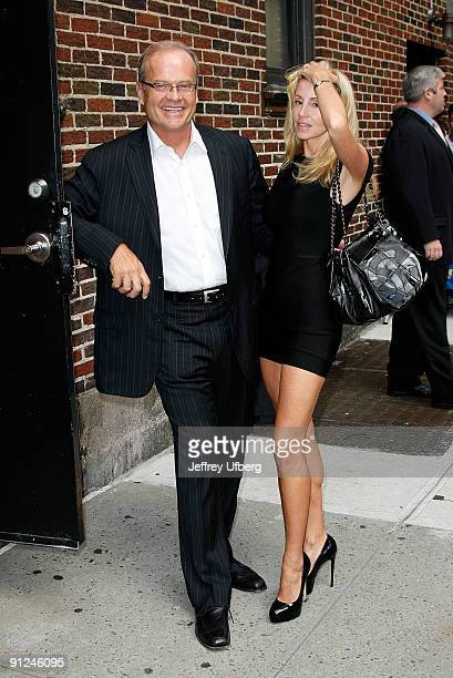 """Actor Kelsey Grammer and his wife Camille Grammer visit """"Late Show with David Letterman"""" at the Ed Sullivan Theater on September 29, 2009 in New York..."""