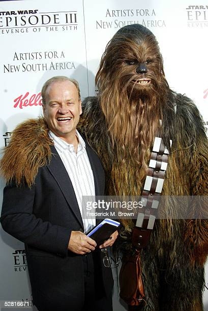 """Actor Kelsey Grammer arrives with Chewbacca to the """"Star Wars Episode III - Revenge Of The Sith"""" Los Angeles Premiere at the Mann Village Theatre on..."""