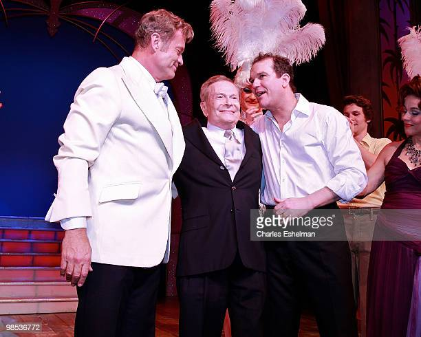 Actor Kelsey Grammer composer Jerry Herman and actor Douglas Hodges perform in the opening of La Cage Aux Folles on Broadway at the Longacre Theatre...