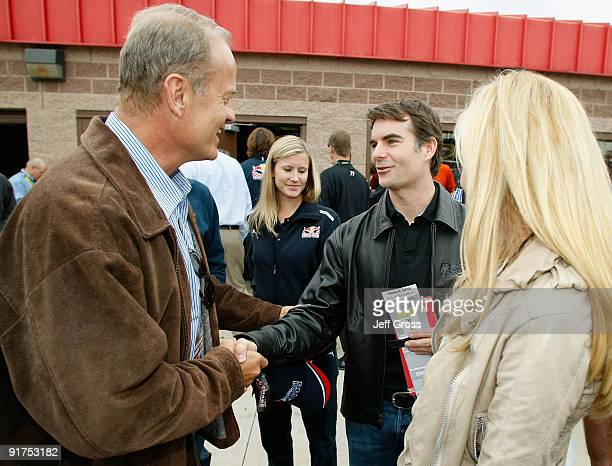 Actor Kelsey Grammer greets NASCAR driver Jeff Gordon prior to the start of the NASCAR Sprint Cup Series Pepsi 500 at Auto Club Speedway on October...