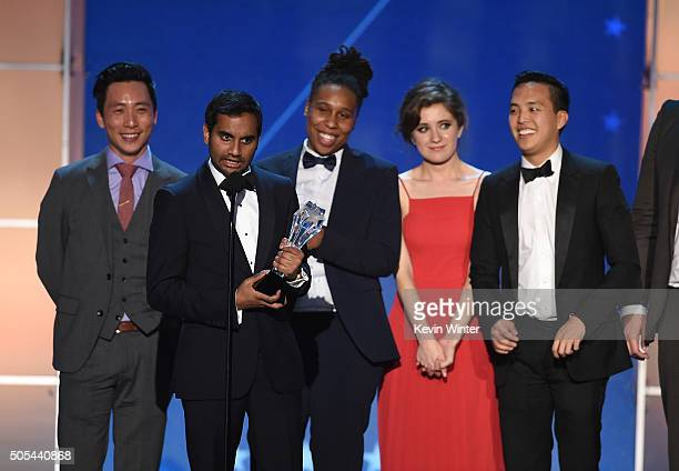 Actor Kelvin Yu, actor-writer Aziz Ansari, actors Lena Waithe and Noel Wells, and producer Alan Yang accept Best Comedy Series award for 'Master of...