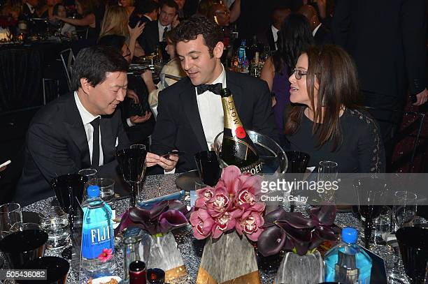 Actor Ken Jeong actor/director Fred Savage and Jennifer Lynn Stone at the 21st Annual Critics' Choice Awards presented by FIJI Water at Barker Hangar...