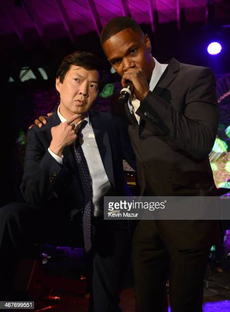 Actor Ken Jeong and actorsinger Jamie Foxx onstage during Hollywood Stands Up To Cancer Event with contributors American Cancer Society and Bristol...