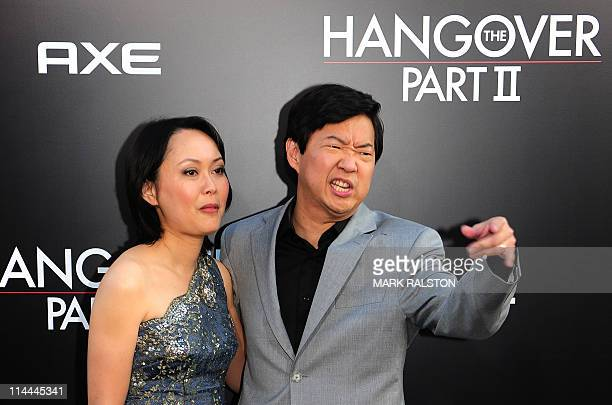 Actor Ken Jeong and his wife arrives on the red carpet for the premiere of the Warner Bros film The Hangover Part II at Grauman's Chinese Theater in...