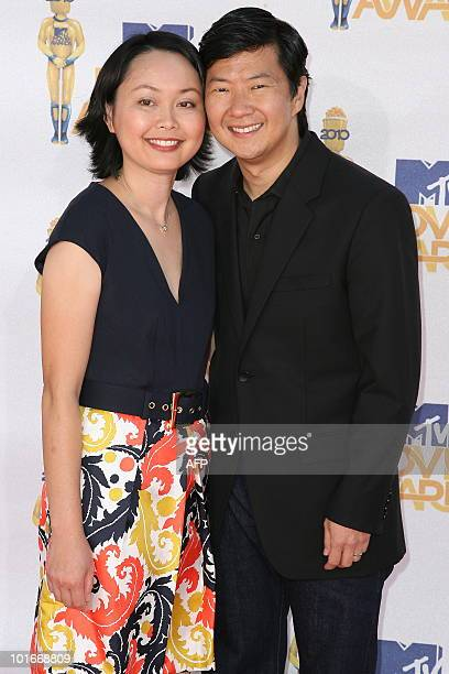 Actor Ken Jeong and his wife Tran arrive for the 2010 MTV Movie Awards at the Gibson Amphitheatre in Universal City California on June 6 2010 Jeong...