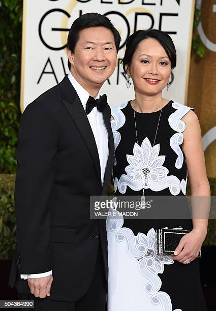Actor Ken Jeong and his wife Tran Jeong arrive at the 73nd annual Golden Globe Awards January 10 at the Beverly Hilton Hotel in Beverly Hills...