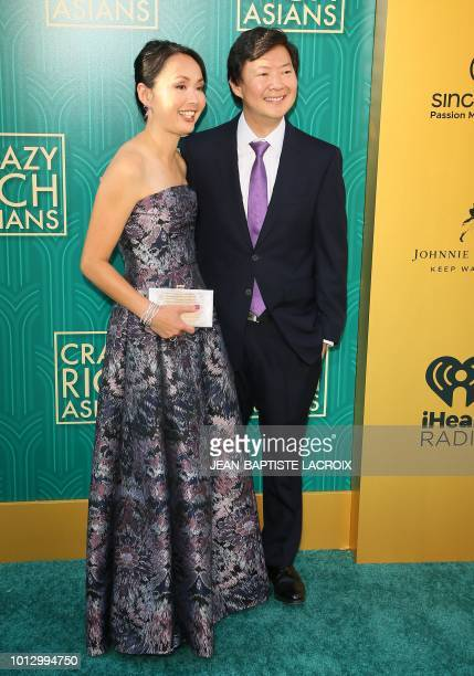 Actor Ken Jeong and his wife Tran Jeong attend the premiere of Warner Bros Pictures' Crazy Rich Asians in Hollywood California on August 7 2018
