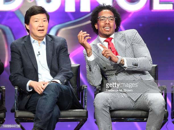 Actor Ken Jeong and Nick Cannon of the television show The Masked Singer speak during the FOX segment of the Summer 2018 Television Critics...