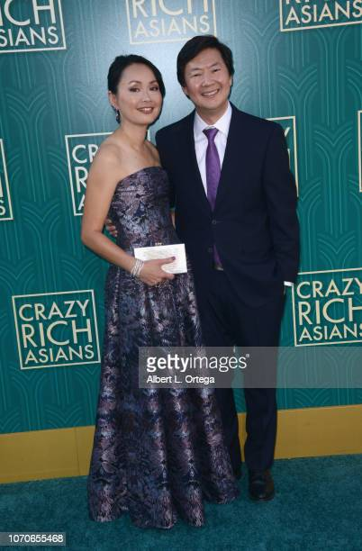 Actor Ken Jeong and wife Tran arrive for Warner Bros Pictures' Crazy Rich Asians Premiere held at TCL Chinese Theatre IMAX on August 7 2018 in...