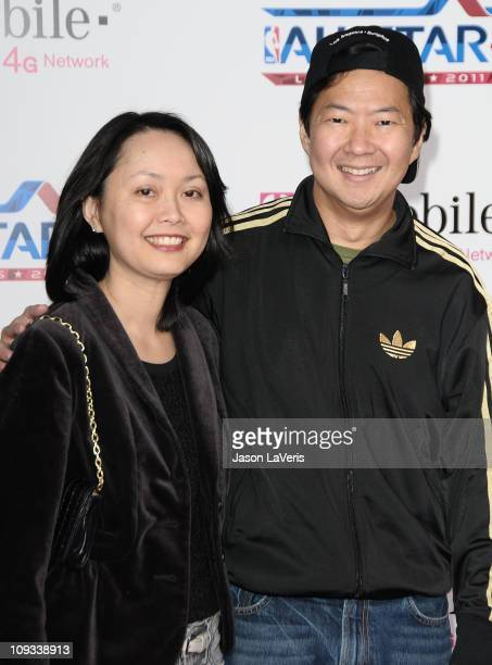 Actor Ken Jeong and wife Tran Ho attend the 2011 NBA AllStar game at LA LIVE on February 20 2011 in Los Angeles California