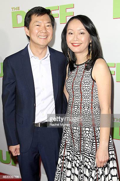 Actor Ken Jeong and wife Tran Jeong attend a special Los Angeles fan screening of THE DUFF on February 12 2015 in Los Angeles California