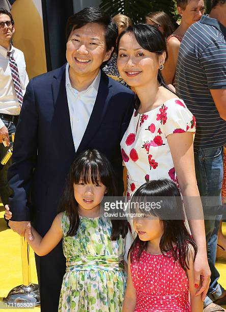 Actor Ken Jeong and wife Tran Jeong pose with their daughters at the premiere of Universal Pictures' Despicable Me 2 at the Gibson Amphitheatre on...