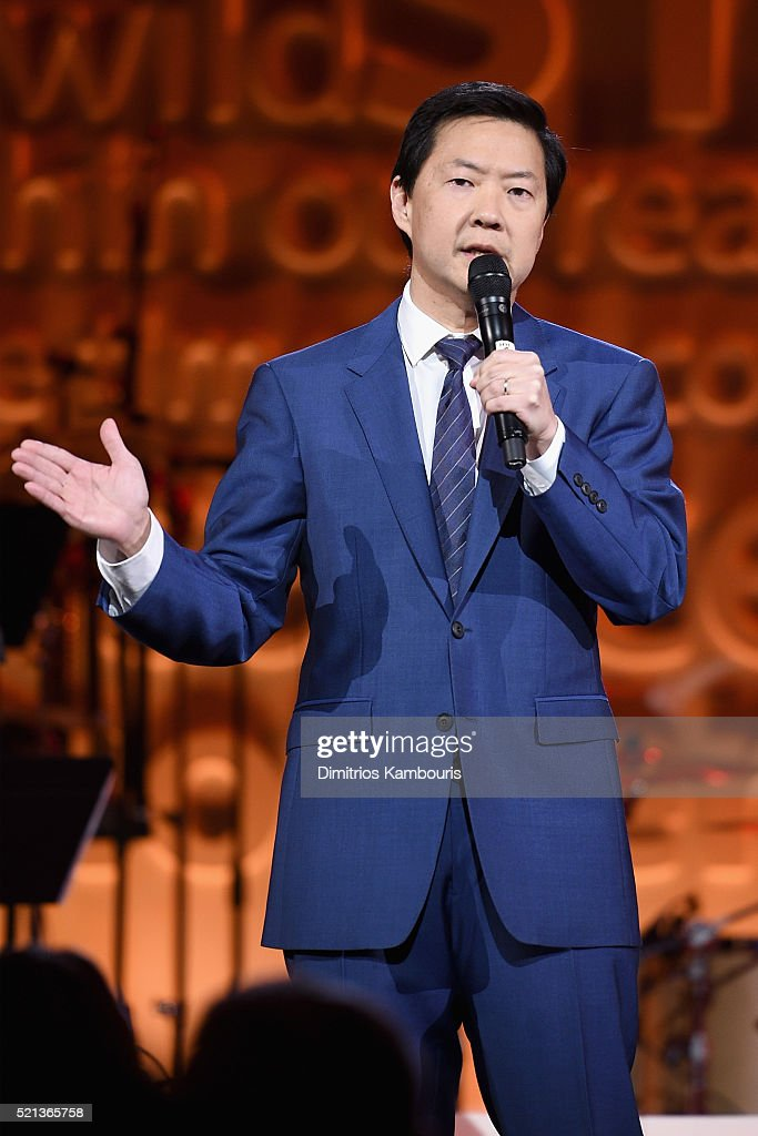 Actor Ken Jeong speaks onstage during Stand Up To Cancer's New York Standing Room Only, presented by Entertainment Industry Foundation, with donors American Airlines and Merck, chaired by Jim Toth, Reese Witherspoon & MasterCard President/CEO Ajay Banga and his wife Ritu, honoring Katie Couric at Cipriani Wall Street on April 9, 2016 in New York City.