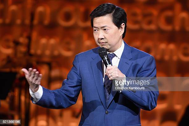Actor Ken Jeong speaks onstage during Stand Up To Cancer's New York Standing Room Only presented by Entertainment Industry Foundation with donors...