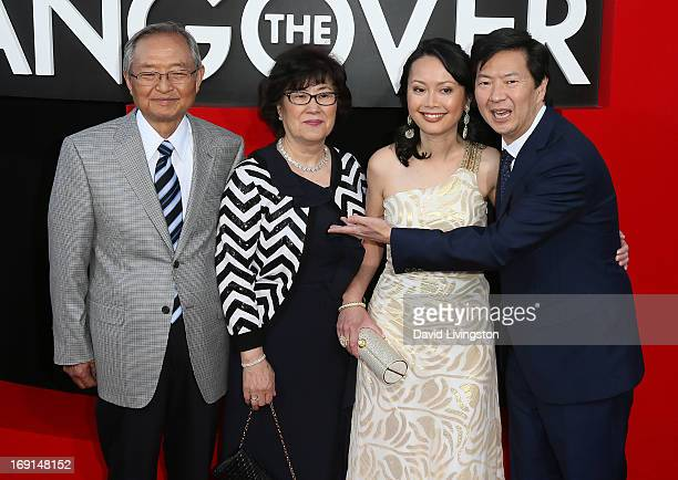 Actor Ken Jeong wife Tran and his parents attend the premiere of Warner Bros Pictures' Hangover Part III at the Westwood Village Theater on May 20...