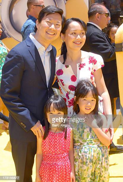 Actor Ken Jeong wife Tran Jeong and children Zooey Jeong and Alexa Jeong arrive at the Los Angeles premiere of 'Despicable Me 2 held at Universal...