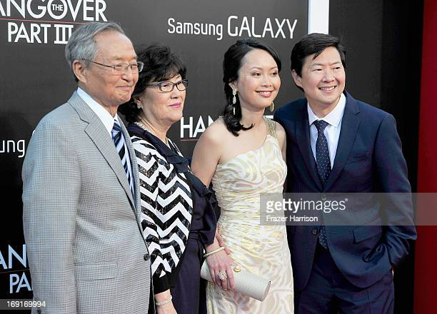 Actor Ken Jeong wife Tran Jeong and parents attend the premiere of Warner Bros Pictures' Hangover Part 3 at Westwood Village Theater on May 20 2013...