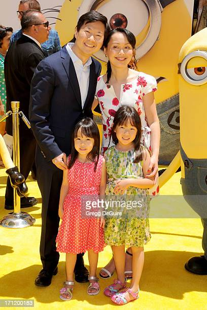 Actor Ken Jeong wife Tran Jeong children Zooey Jeong and Alexa Jeong arrive at the Los Angeles premiere of Despicable Me 2 at Universal CityWalk on...