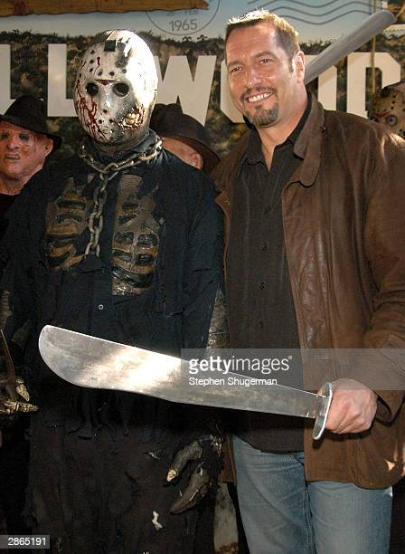 Actor Ken Kirzinger poses with Jason lookalike winner at the wax figure unveiling and DVD release of Freddy Vs Jason at the Hollywood Wax Muesum on...