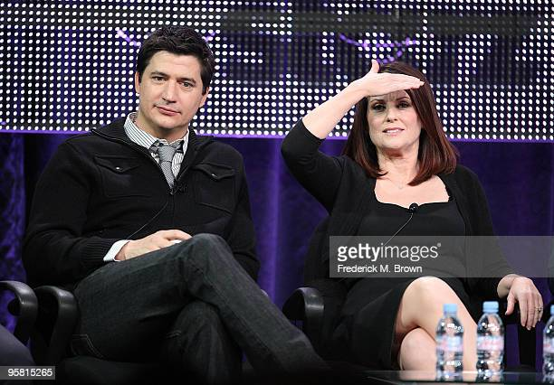 """Actor Ken Marino and actress Megan Mullally of the television show """"Party Down"""" speak during the Starz Network portion of The 2010 Winter TCA Press..."""