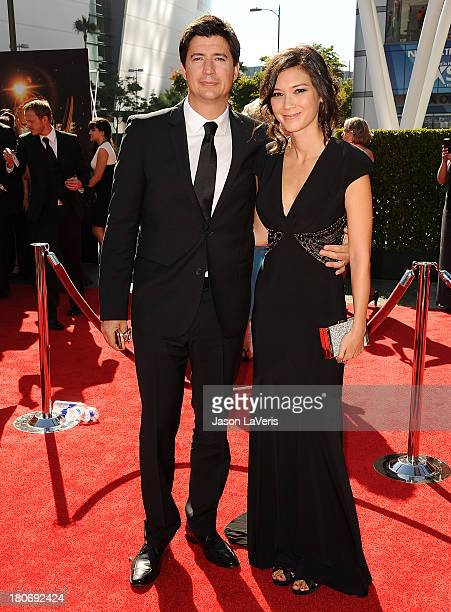 Actor Ken Marino and wife Erica Oyama attend the 2013 Creative Arts Emmy Awards at Nokia Theatre LA Live on September 15 2013 in Los Angeles...