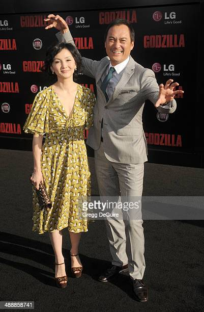 Actor Ken Watanabe and Kaho Minami arrive at the Los Angeles premiere of 'Godzilla' at Dolby Theatre on May 8 2014 in Hollywood California