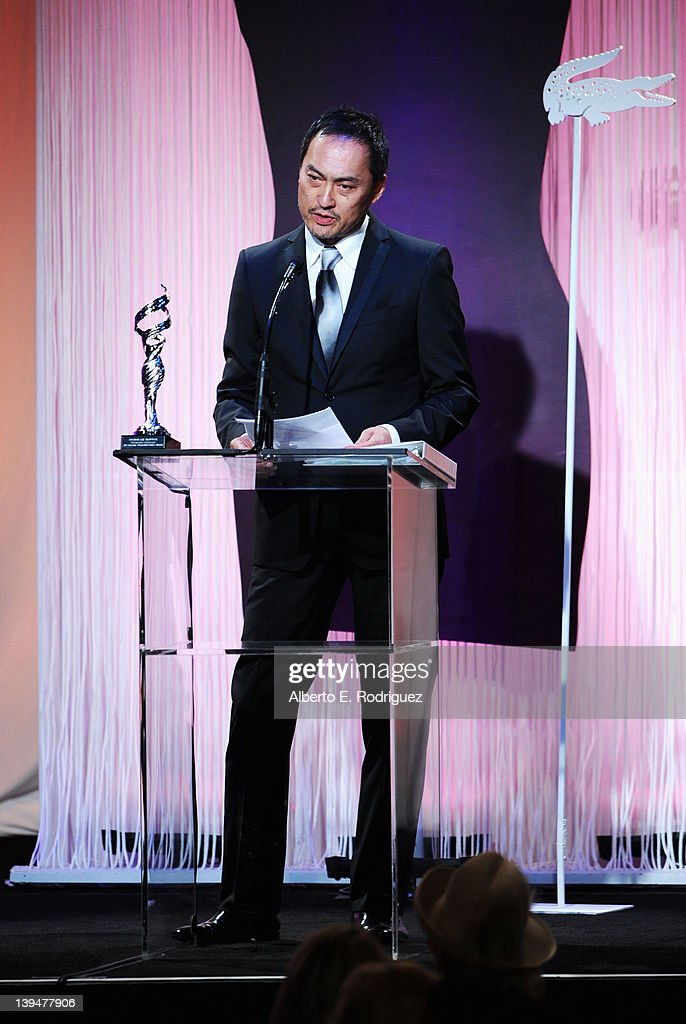 Actor Ken Watanabe speaks onstage during the 14th Annual Costume Designers Guild Awards With Presenting Sponsor Lacoste held at The Beverly Hilton hotel on February 21, 2012 in Beverly Hills, California.