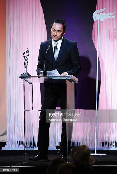 Actor Ken Watanabe speaks onstage during the 14th Annual Costume Designers Guild Awards With Presenting Sponsor Lacoste held at The Beverly Hilton...