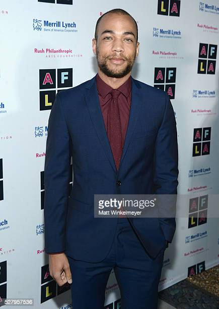 Actor Kendrick Sampson attends Russell Simmons' Rush Philanthropic Arts Foundation's inaugural Art For Life Los Angeles at Private Residence on May 3...