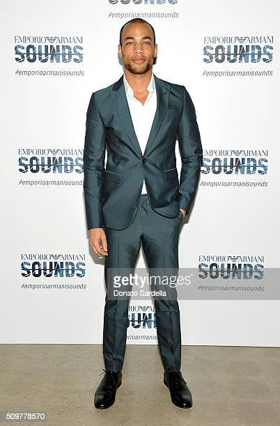 Actor Kendrick Sampson wearing Emporio Armani attends Emporio Armani Sounds Los Angeles at NeueHouse Los Angeles on February 11 2016 in Hollywood...