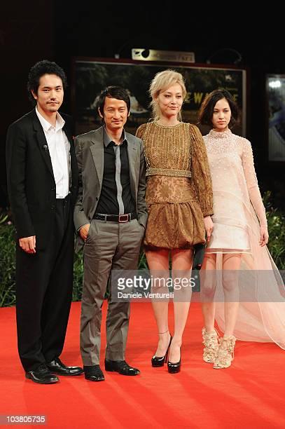 Actor Kenichi Matsuyama Director Anh Hung Tran actress Rinko Kikuchi and actress Kiko Mizuhara attend the Norwegian Wood premiere at the Palazzo del...