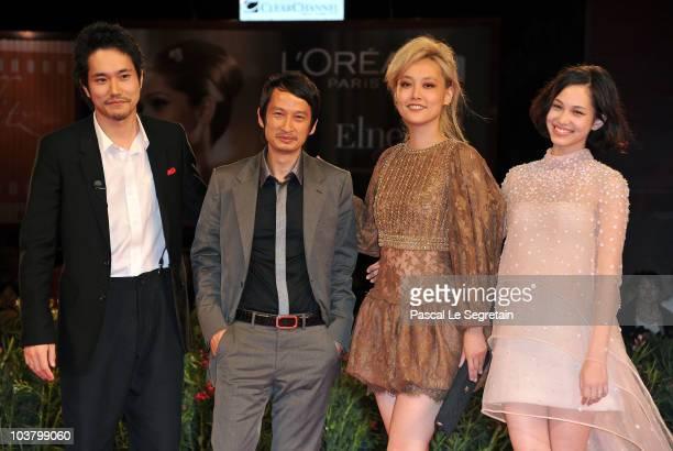 Actor Kenichi Matsuyama DirectorAnh Hung Tran actress Rinko Kikuchi and actress Kiko Mizuhara attend the Norwegian Wood premiere during the 67th...