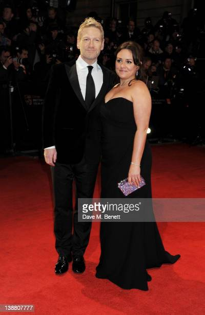 Actor Kenneth Branagh and Lindsay Brunnock arrive at the Orange British Academy Film Awards 2012 at The Royal Opera House on February 12 2012 in...