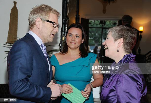 Actor Kenneth Branagh, Lindsay Brunnock and Consul-General Dame Barbara Hay attend the GREAT British Film Reception to honor the British nominees of...