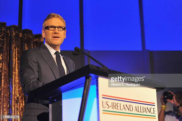 Actor Kenneth Branagh speaks onstage at the 7th Annual Oscar Wilde Honoring The Irish In Film PreAcademy Awards Event at Bad Robot on February 23...