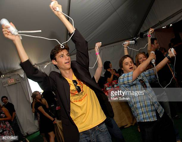 Actor Kenny Bauman and actor Luke Zimmerman attend the Mattel Celebrity Retreat produced by Backstage Creations at Teen Choice 2008 on August 3 2008...